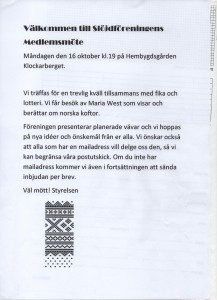 Medlemsmöte höst 2017 slöjdfören.